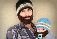 вязаная шапка с бородой