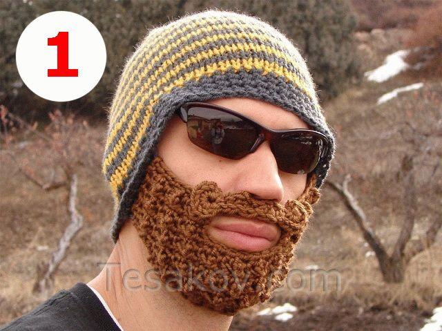 вязаная мужская шапка с бородой
