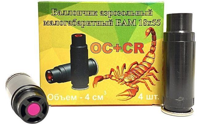 Баллончик аэрозольный малогабаритный OC+CR БАМ 18х55