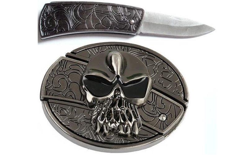 Нож в пряжке с крестом и черепом