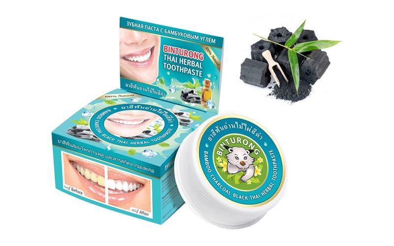 Зубная паста с бамбуковым углем Bamboo Charcoal Black Thai Herbal Toothpaste, Binturong (33 г)