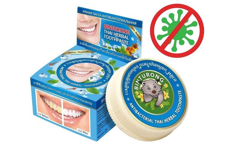 Антибактериальная зубная паста на травах Antibacterial Thai  Herbal Toothpaste, Binturong (33 г)