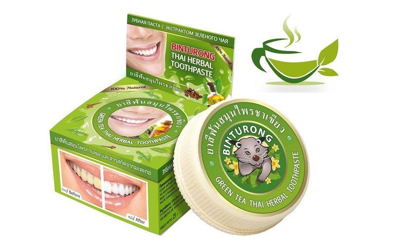 Зубная паста с экстрактом зеленого чая Green Tea Thai Herbal Toothpaste, Binturong (33 г)