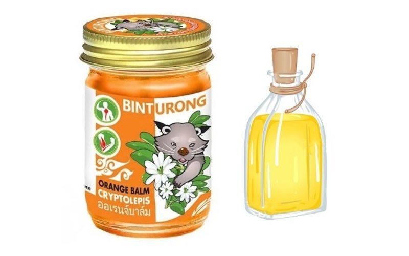 Оранжевый бальзам Binturong с криптолеписом при ушибах и растяжениях, Таиланд (50 мл)