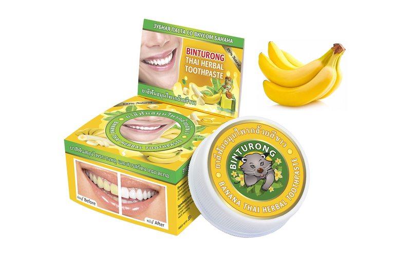 Зубная паста с бананом для чувствительных десен Banana Thai Herbal Toothpaste, Binturong (33 г)