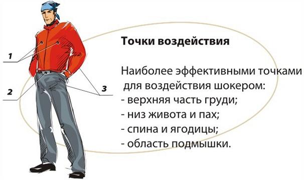 точки воздействия для применения электрошокера